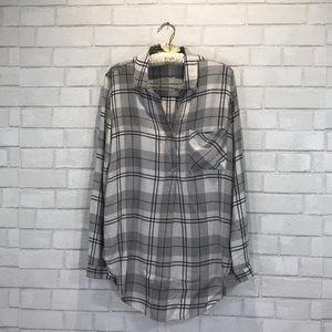 Cloth & Stone Whitehaven Gray Plaid Flannel Tunic